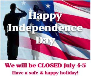 Closed July 4-5, 2021